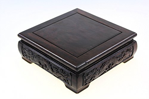 Oriental Furniture Chinese Rosewood Solid Mahagony Wood Display Stand Wooden Base Square Shape Pedestal With Dragon Design Carved L 15.5cm 15.5cm 6.5cm