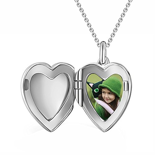 SOUFEEL Engraving Heart Personalized Photo Locket With Chain 925 Sterling Silver Customized (Personalized Photo Locket)