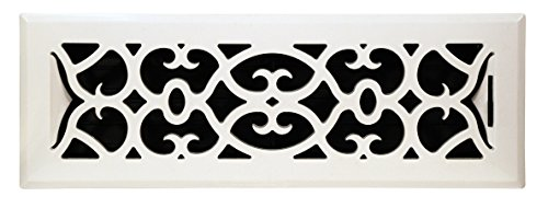 White Victorian Register - Accord APFRWHV212 Plastic Floor Register with Victorian Design, 2-Inch x 12-Inch(Duct Opening Measurements), White Finish