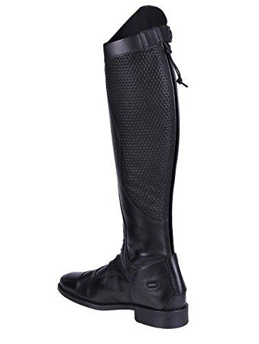 QHP Damen Lederreitstiefel Nina mit anti-slip Beschichtung an der Innenseite normale Wadenweite Schwarz