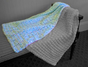 """Easy Peasy Baby Blanket"" Crochet Kit in Toybox Confetti yarn - BLUE CONFETTI Caring Crafts Inc"