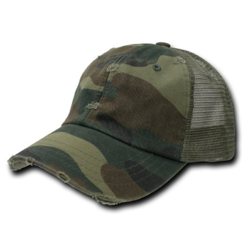 Green Camouflage Vintage Washed Adjustable Mesh Trucker Baseball Cap Hat One Size Fits (Camo Mesh Hat)