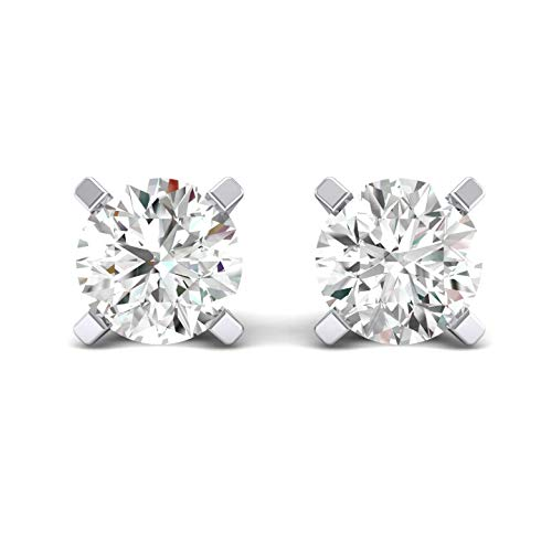 JewelMore 1/5ct tw Diamond Stud Earring in 14k White Gold (White Gold)