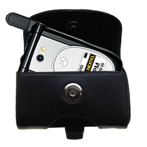 Designer Gomadic Black Leather Nextel i920 i930 Belt Carrying Case - Includes Optional Belt Loop and Removable Clip