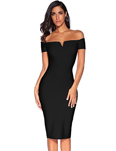 Meilun Women's Strapless Knee Length Off Shoulder Bandage Dress Black Small