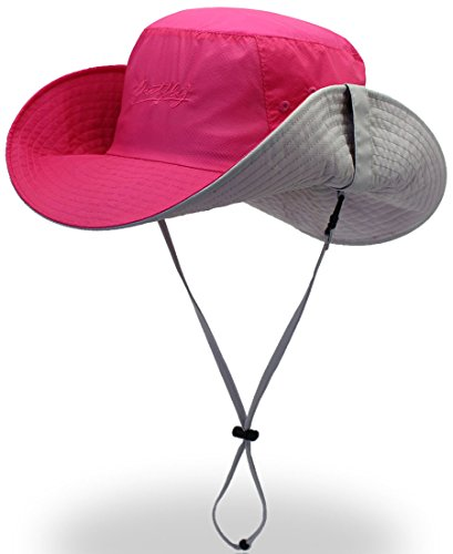 Open-air Sun Protection Hat UV Protection Wide Brim Fishing Hat Windproof Fishing Hat Rose Red A