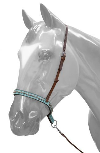 - Showman Medium Leather Horse Teal Filigree Noseband and Tie Down with Copper Studs.
