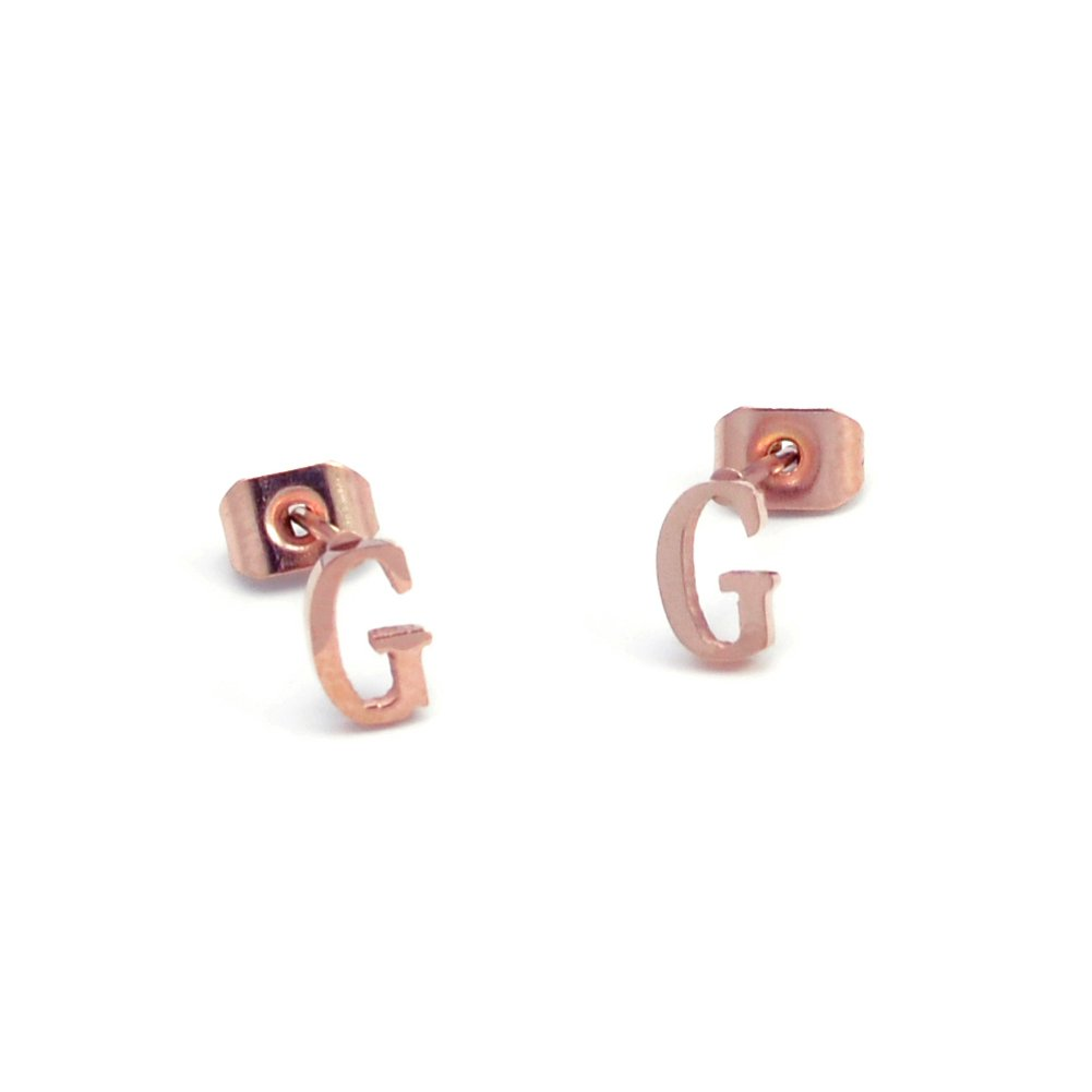 Stainless Steel Initial Letter Earring Studs A-Z 14K Rose Gold Plated