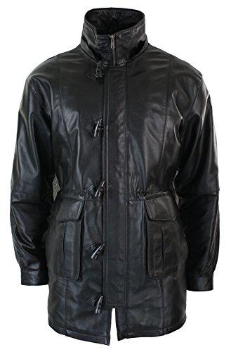 Manteau homme longueur 3/4 cuir véritable style parka doudoune capuche amovible