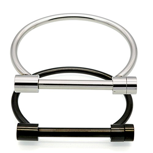 ALoveSoul 2 Pcs Screw Bracelet Stainless Steel Bar Cuff Bangle Set(Silver,Black) ()