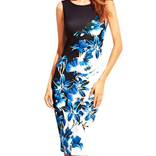 Women Prom Dresses,Ladies Round Neck Floral Print Sleeveless Cocktail Wedding Party Maxi Dress Blue