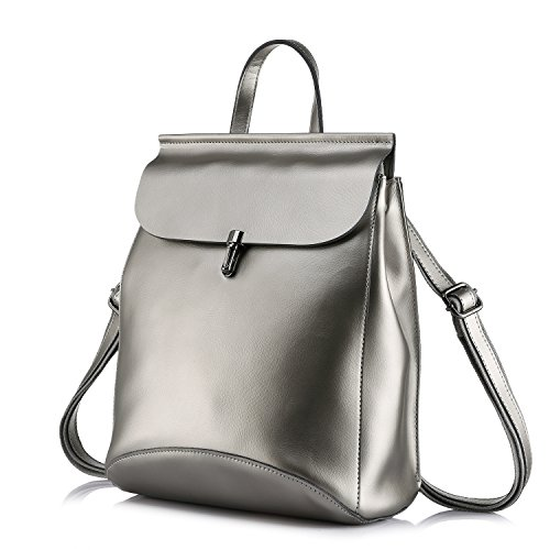 Realer Bolsos de cuero genuino mochilas para mujer bolso de hombro Plata