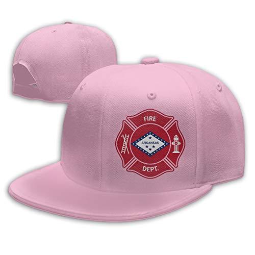 KeepSports Unisex State Arkansas AR Firefighter Dept Baseball Cap Adjustable Snapback Flat Trucker Hat Pink
