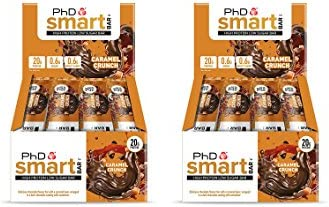 PhD Smart Bar High Protein Low Carb Bar, Caramel Crunch, 2er Pack (2 x 12 Stück) 24 bars x 64 g