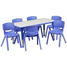Flash Furniture 23.625''W by 47.25''L Adjustable Rectangular Blue Plastic Activity Table Set with 6 School Stack Chairs
