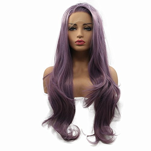 (Side Part Hairline Smoky Purple Lavender Wig Long Natural Wavy Lilac Lace Front Wig Heat Safe Glueless Party Synthetic Hair)