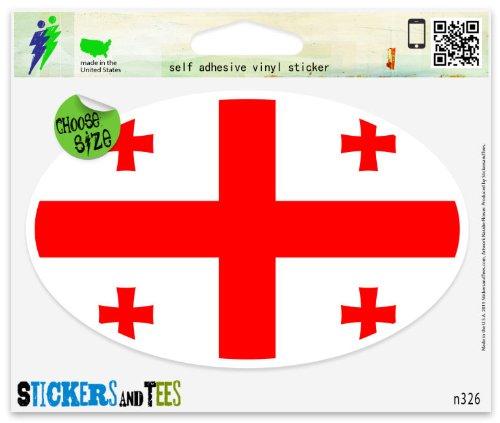 Georgia Flag Stickers (Georgia Flag oval Vinyl Car Bumper Window Sticker 3