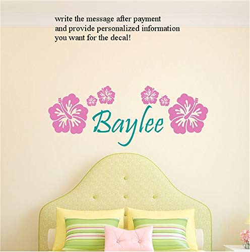 Cuikie Stickers Vinyl Wall Art Decals Letters Quotes Decoration Personalized Name Hibiscus for Girls RoomFor Nursery Bedrom ()