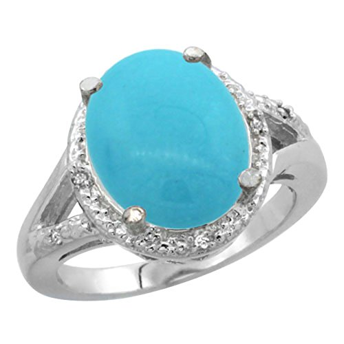 10K Yellow Gold Natural Turquoise Ring Oval 12x10mm Diamond Accent, size 6 6x10mm Oval Turquoise Ring