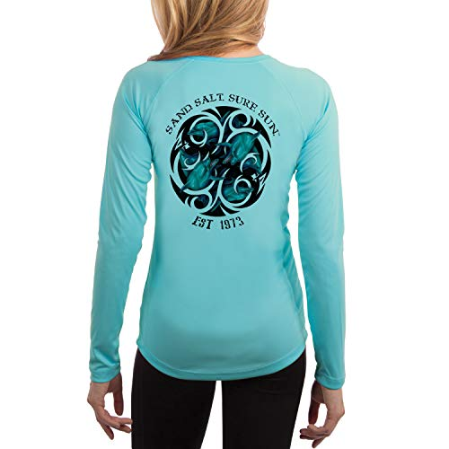 (SAND.SALT.SURF.SUN. Dolphin Tribal Women's UPF 50+ Long Sleeve T-Shirt Small Water Blue)