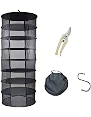 Yorsvueghe Herb Drying Rack 2ft 8 Layers Foldable Hanging Plant Drying Net Black Opening Breathable Mesh Cloth with Garden Scissors