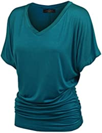 Womens Solid Short Sleeve Boat Neck Dolman Top with Side...