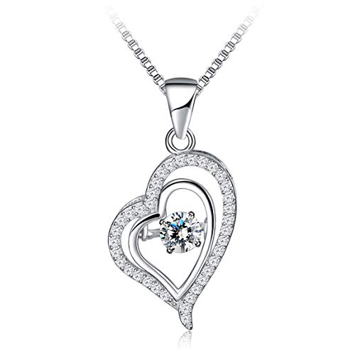 (925 Sterling Silver Heart Necklaces Cubic Zirconia Heart Pendant Necklace Jewelry Necklaces for Women Girls)