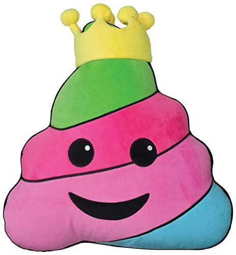 16 Inch Embroidered Plush Pillow - iscream Strawberry Scented King Rainbow Poop Embroidered Accent 16