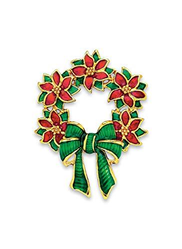 Festive Wreath Pin - Gold Wreath Pin Tone