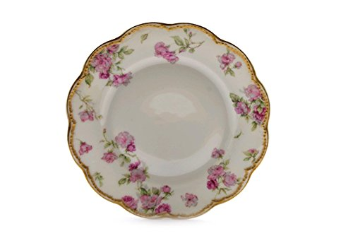 Rose 261 - Haviland Schleiger 261 Gold Trim Pink Roses Luncheon Plate 7 3/8