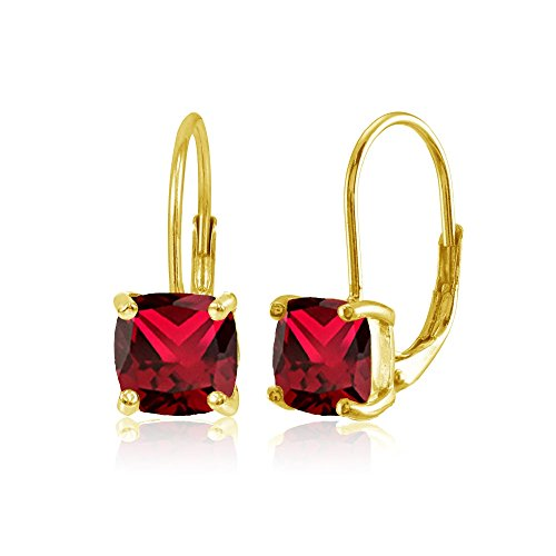Ruby Red Flashed - Yellow Gold Flashed Sterling Silver Created Ruby 7x7mm Cushion-Cut Leverback Earrings