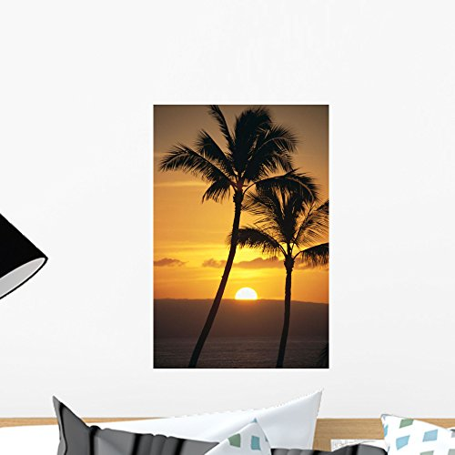 Island Canvas Outdoor Sunset (Wallmonkeys Two Palm Trees Silhouetted at Sunset Wall Decal Peel and Stick Graphic WM176366 (18 in H x 12 in W))