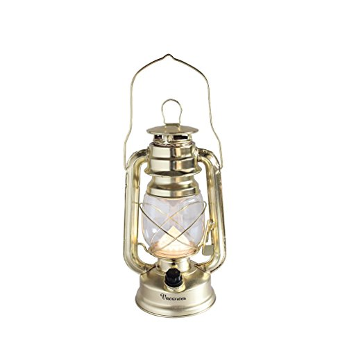 (Time Concept Vacances Premium Big LED Lantern - Gold - Retro Style Camping Lamp, Indoor/Outdoor, Battery-Operated Light)