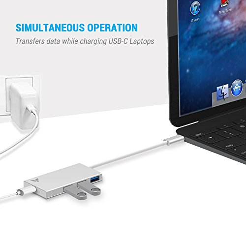 MAKETECH Ultra Slim Aluminum USB Type-C HUB with 3 USB 3.0 Data Ports and 1 USB-C Passthrough Charging Port for New Macbook Pro 2016, New Macbook 2015/2016, Chromebook Pixel and More Type-C Devices by MAKETECH (Image #2)