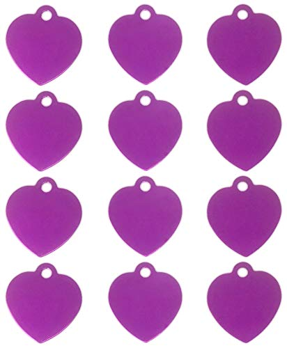(TheAwristocrat 12 Pack Blank Pet ID Tags for Dogs & Cats Wholesale - Select from a Variety of Shapes & Colors (Purple, Heart))
