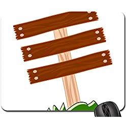 Mouse Pads - Sign Wooden Blank Post Planks Yard Grass Empty