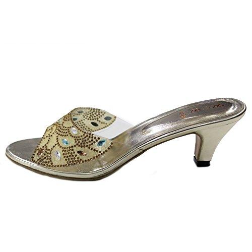 W & W Mujeres Ladies tarde Diamante zapatos de novia de la boda fiesta de sándalo Slip On tacón mediano tamaño, Oro (san1018) Dorado - dorado
