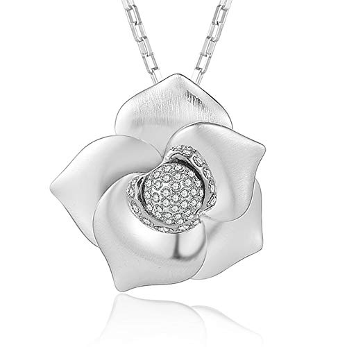 XZP Platinum Plated Flower Pendant Necklace Women Statement Flower Necklace with Shinny Zirconia Jewelry Gift