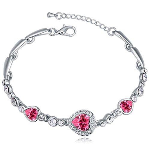 Latigerf Women's Heart Bracelet White Gold Plated Pink Swarovski Elements Crystal for Lady