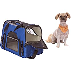 Soft Sided Cat & Dog Carrier Airline Approved - for Small Breed Dogs Cats Kittens and Puppies MAX 12LBS Features Soft-Sided Foldable Design with Adjustable Detachable Shoulder Strap