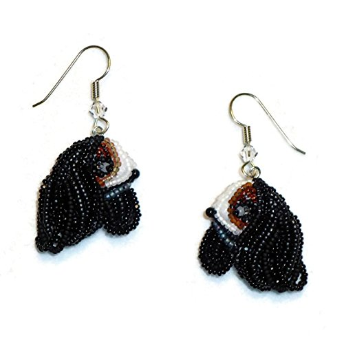 (Cavalier KING CHARLES SPANIEL beaded bead embroidery dog earrings (Made to Order))