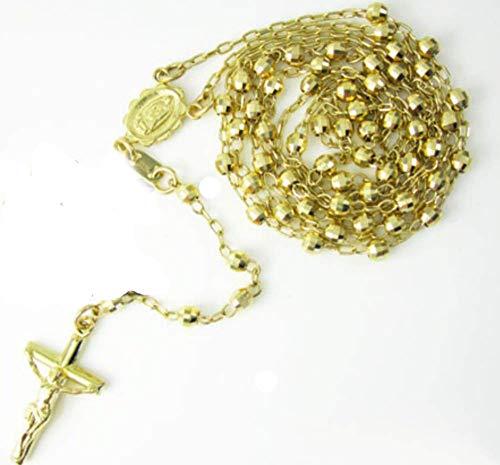 (14k Yellow+White+Rose Gold Diamond Cut Catholic Rosary Prayer Beads Necklace)