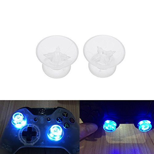 Whitelotous LED Light Up Thumb Sticks Mod with Clear Thumbstick Caps for XBox One PS4 Controller