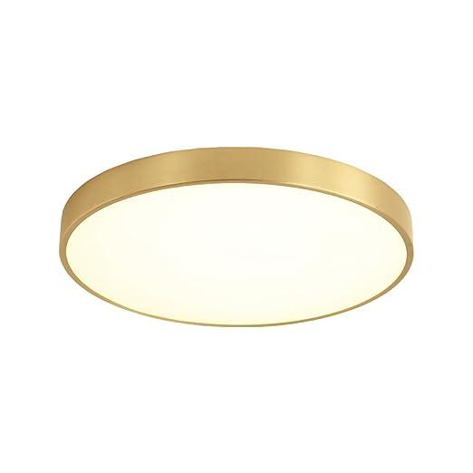 Moderna lámpara de techo LED redonda, moderna, de color dorado, minimalista, de cobre y acrílico, para oficina, comedor, salón, dormitorio, terraza, ...