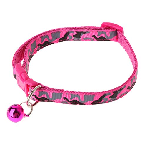 (Oranmay Camouflage Pet Collar Safety Outdoor Adjustable Leash with Bell for Dog Cat Puppy (Hot Pink))