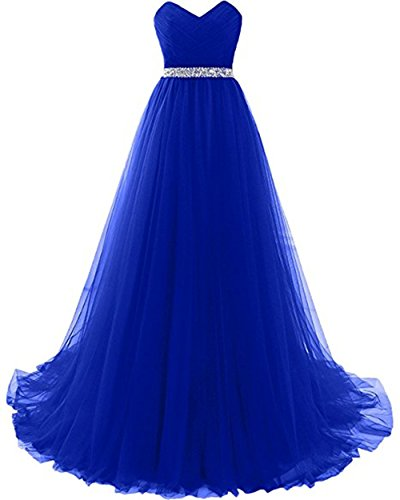 - Hot Sale Women's Strapless Tulle Evening Prom Dress Long Formal Gowns for Red Carpet Royal Blue,Size 12