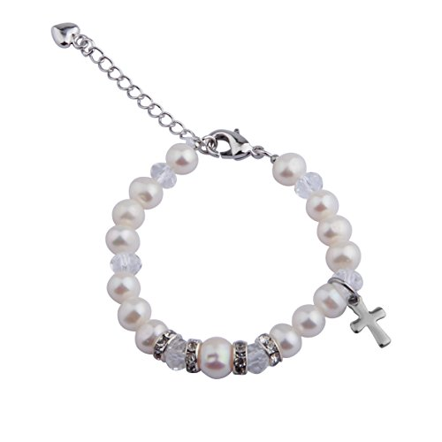 n's Jewelry First Communion Rosary Bracelet Baptism Gift Nature Pearl Bracelet with Cross Charm Christian Gifts (White(1-5Years old)) ()