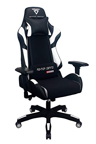 Raynor Gaming Energy Pro Series Gaming Chair Ergonomic Outlast Cooling Technology High Back Racing Style Computer Chair Adjustable Armrests Mesh and PU Leather with Lumbar and Headrest Pillow (White) ()