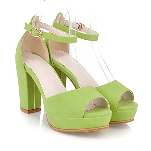 Soft 1TO9 Buckle Material Sandals High Girls Heels Green aap8zn1
