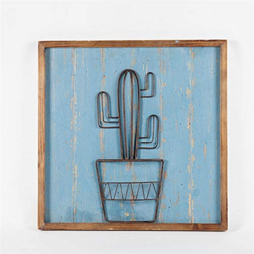 Winsome House Southwest Metal Cactus Wood Wall Plaque